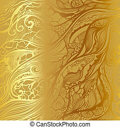 Abstract vector hand drawn doodle pattern. Gold background.