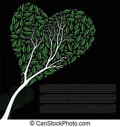 Abstract vector heart shaped green tree