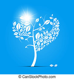 Abstract Vector Heart Shaped Tree on Blue Background
