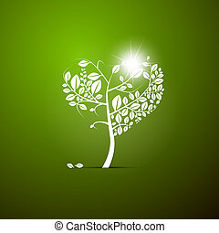 Abstract Vector Heart-Shaped Tree on Green Background