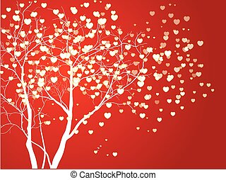 Abstract vector heart shaped tree on red background