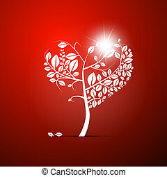 Abstract Vector Heart-Shaped Tree on Red Background