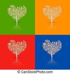 Abstract Vector Heart-Shaped Tree Set