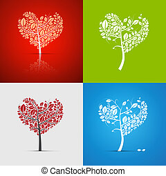 Abstract Vector Heart-Shaped Tree Set on Green, Red, White...