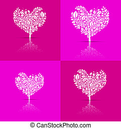 Abstract Vector Heart-Shaped Tree Set on Violet and Pink Background