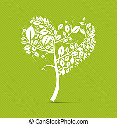 Abstract vector heart shaped white tree