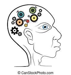 Abstract Vector Human Head with Cogs - Gears