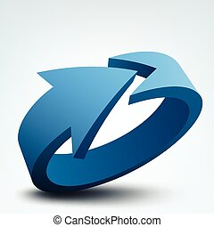Abstract vector illustration, 3d arrow, logo design