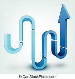 Abstract vector illustration, 3d arrow, logo design
