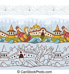 background with fairytale characters - abstract vector ...