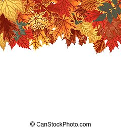 Abstract Vector Illustration Background with Falling Autumn Leaves.