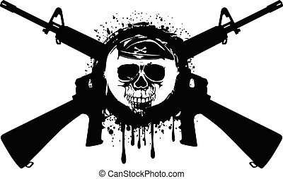 rifles and skull
