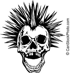 skull punk - Abstract vector illustration grunge skull punk...