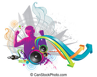 Abstract vector illustration - Man listens to music