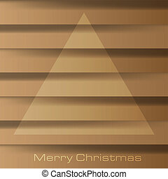 Abstract vector illustration of a christmas tree over a brown wooden board background and the text Merry Christmas