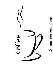Abstract vector illustration of a Cup of hot coffee with steam.