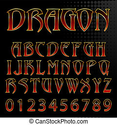 Abstract vector illustration of a dragon style font