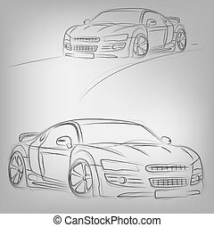 Abstract vector illustration of a sketched car on white