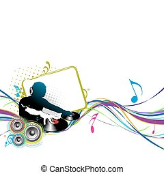 dj man - Abstract vector illustration of an dj man playing...