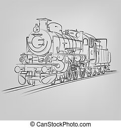 Abstract vector illustration of an old locomotive sketch