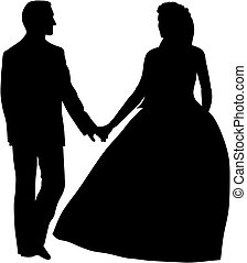 Abstract vector illustration of bridegrooms
