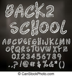 Abstract vector illustration of chalk sketched letters