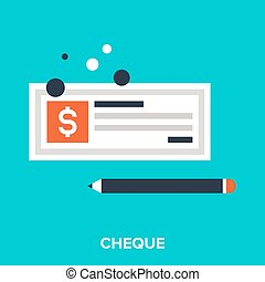 cheque - Abstract vector illustration of cheque flat design...