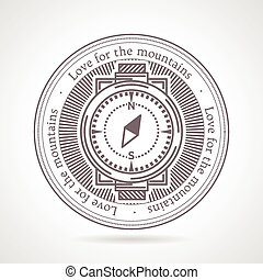Abstract vector illustration of compass icon with text