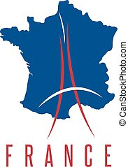 abstract vector illustration of Eiffel Tower and map of France
