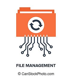 Abstract vector illustration of file management flat design concept.