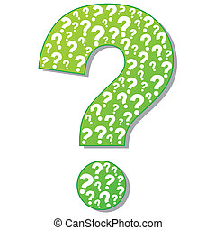 Abstract vector illustration of green question mark isolated on white background