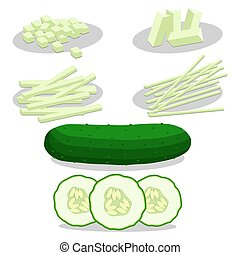 Abstract vector illustration of logo for green cucumber