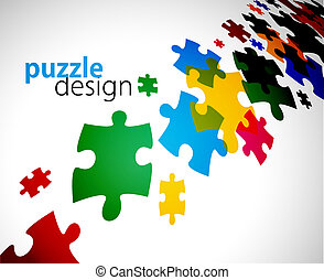 puzzle pieces - abstract vector illustration of puzzle ...