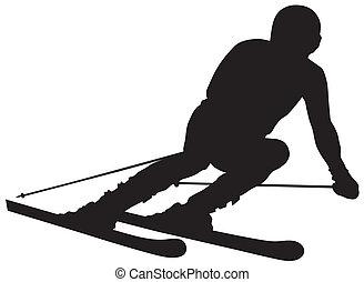 skier - Abstract vector illustration of skier