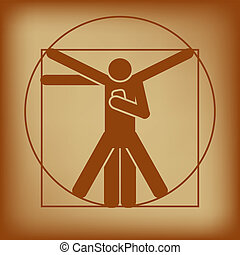 Abstract vector illustration of vitruvian man checking smartphone