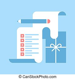 wish list - Abstract vector illustration of wish list flat ...