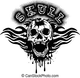 pierced skull on grunge splash with tribal patterns