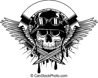 skull in helmet with goggles and crossed knives