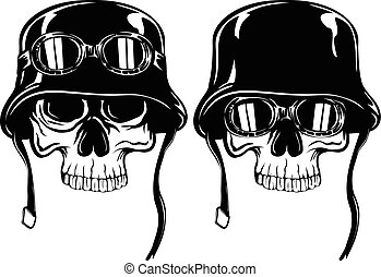skull in helmet with goggles