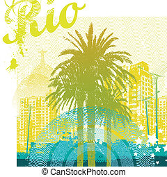 Abstract vector illustration - tropical urban landscape & silhouettes of palms