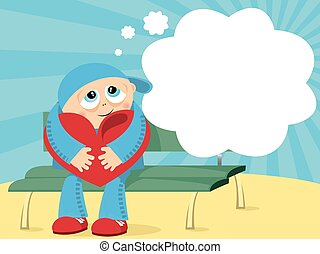 Abstract vector illustration with boy sitting with lovely heart