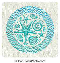 Abstract vector illustration with hand drawn sea fauna