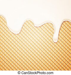 Ice Cream and Wafer - Abstract Vector Illustration with Milk...