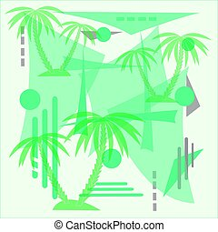 abstract vector illustration with palm trees