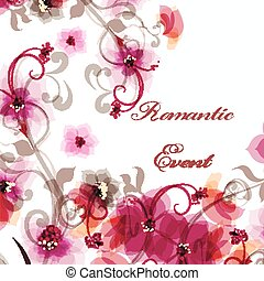 Abstract vector illustration with pink flowers in romantic style f=for design