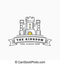 Abstract Vector Kingdom Label, Sign or Logo Template. Fortress Symbol. Castle Icon. Tower Illustration with Flags and Typography in Line Style.