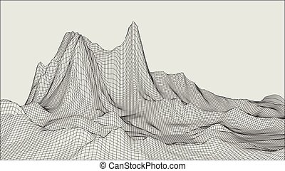 Abstract vector landscape background. Cyberspace grid. 3d ...