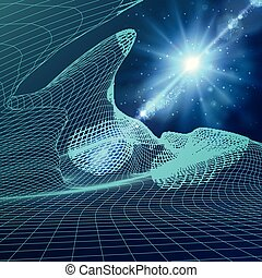Abstract vector landscape background. Cyberspace grid. 3d technology  illustration.