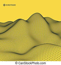 Abstract Vector Landscape Background. Cyberspace Grid. 3d...