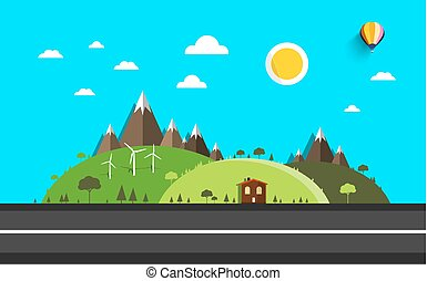Abstract Vector Landscape. Flat Design Empty Road. Hills and Mountains on Background.